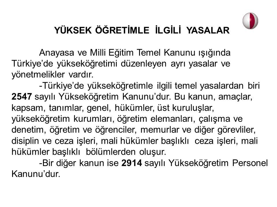 YÜKSEK ÖĞRETİMLE İLGİLİ YASALAR Anayasa ve Milli Eğitim Temel Kanunu ışığında Türkiye'de yükseköğretimi düzenleyen ayrı yasalar ve yönetmelikler vardı
