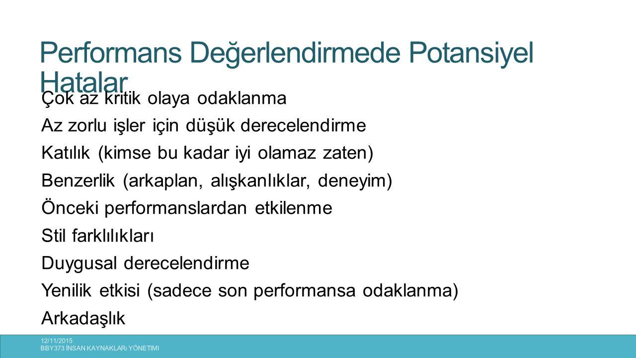 Performans Değerlendirmede Potansiyel Hatalar 12/11/2015 BBY373 İNSAN KAYNAKLARı YÖNETIMI 33 Çok az kritik olaya odaklanma Az zorlu işler için düşük d