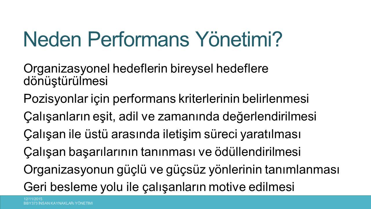 Neden Performans Yönetimi? Organizasyonel hedeflerin bireysel hedeflere dönüştürülmesi Pozisyonlar için performans kriterlerinin belirlenmesi Çalışanl