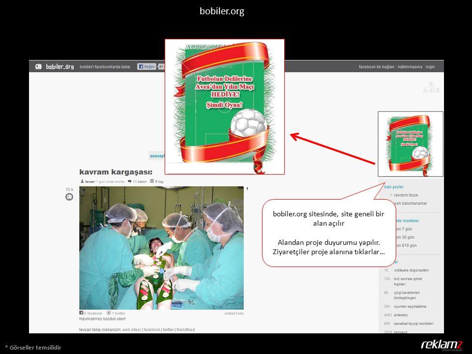 * Görseller temsilidir bobiler.org sitesinde, site geneli bir alan açılır Alandan proje duyurumu yapılır.