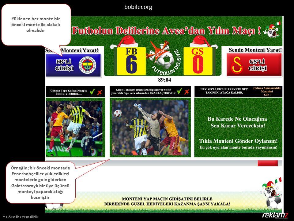 * Görseller temsilidir bobiler.org Yüklenen her monte bir önceki monte ile alakalı olmalıdır Örneğin; bir önceki montede Fenerbahçeliler yükledikleri montelerle gole giderken Galatasaraylı bir üye üçüncü monteyi yaparak atağı kesmiştir