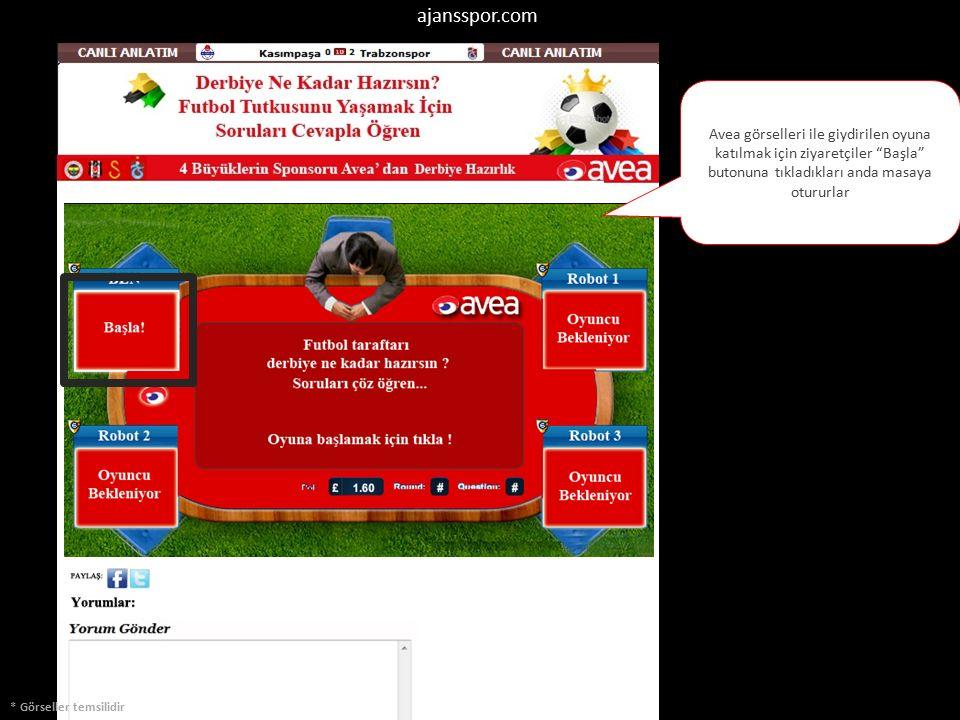 * Görseller temsilidir Avea görselleri ile giydirilen oyuna katılmak için ziyaretçiler Başla butonuna tıkladıkları anda masaya otururlar ajansspor.com