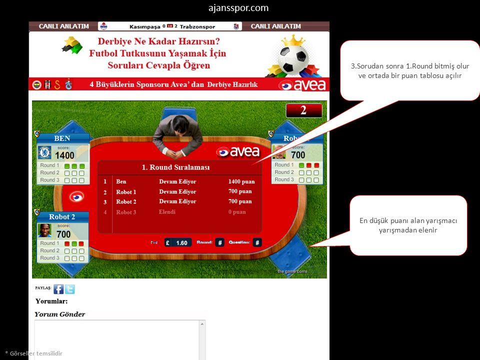 * Görseller temsilidir 3.Sorudan sonra 1.Round bitmiş olur ve ortada bir puan tablosu açılır En düşük puanı alan yarışmacı yarışmadan elenir ajansspor.com