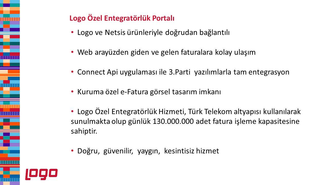 Logo Özel Entegratörlük Portalı Logo ve Netsis ürünleriyle doğrudan bağlantılı Web arayüzden giden ve gelen faturalara kolay ulaşım Connect Api uygula