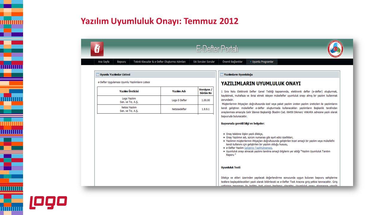 Yazılım Uyumluluk Onayı: Temmuz 2012