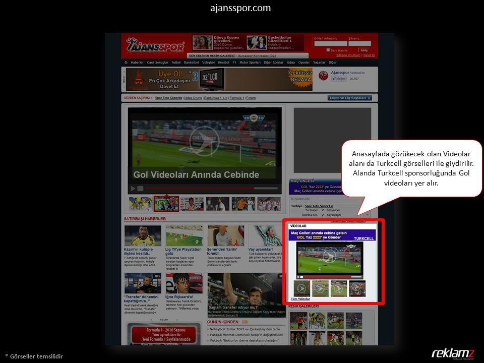 ajansspor.com * Görseller temsilidir Anasayfada gözükecek olan Videolar alanı da Turkcell görselleri ile giydirilir. Alanda Turkcell sponsorluğunda Go