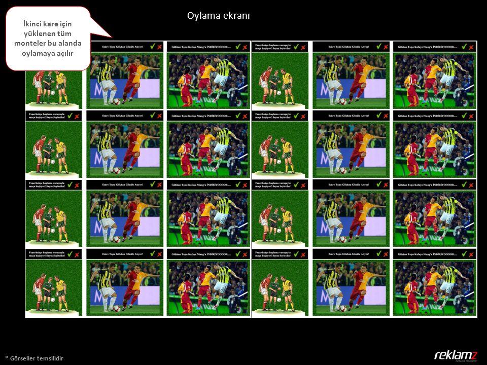 * Görseller temsilidir Oylama ekranı İkinci kare için yüklenen tüm monteler bu alanda oylamaya açılır