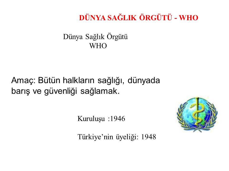 DÜNYA SAĞLIK ÖRGÜTÜ - WHO Dünya Sağlık Örgütü WHO Amaç: Bütün halkların sağlığı, dünyada barış ve güvenliği sağlamak. Kuruluşu :1946 Türkiye'nin üyeli
