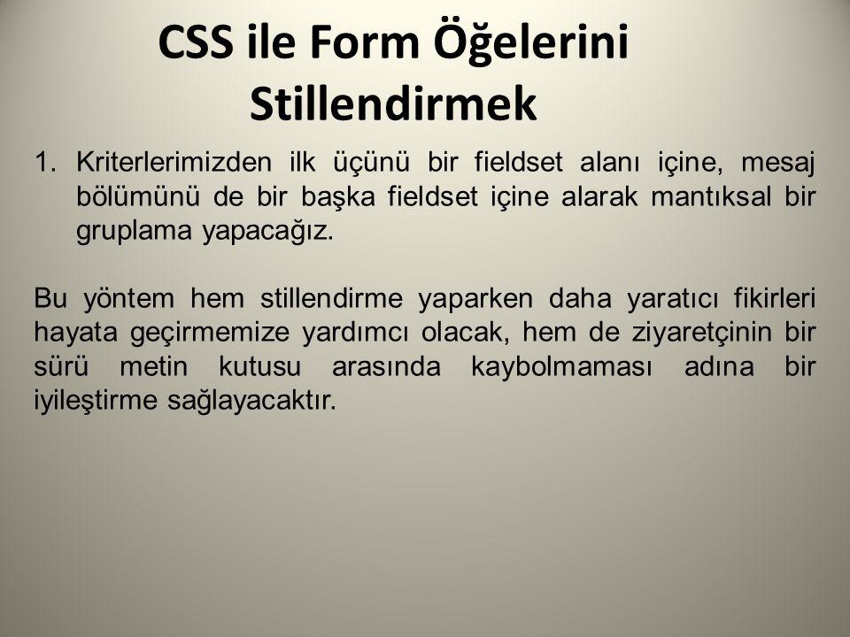 CSS ile Form Öğelerini Stillendirmek 1.Kriterlerimizden ilk üçünü bir fieldset alanı içine, mesaj bölümünü de bir başka fieldset içine alarak mantıksa