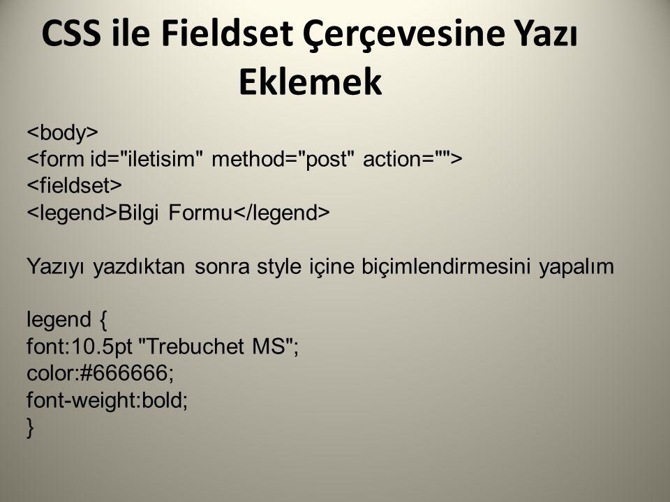 CSS ile Fieldset Çerçevesine Yazı Eklemek Bilgi Formu Yazıyı yazdıktan sonra style içine biçimlendirmesini yapalım legend { font:10.5pt