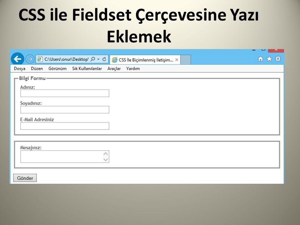CSS ile Fieldset Çerçevesine Yazı Eklemek