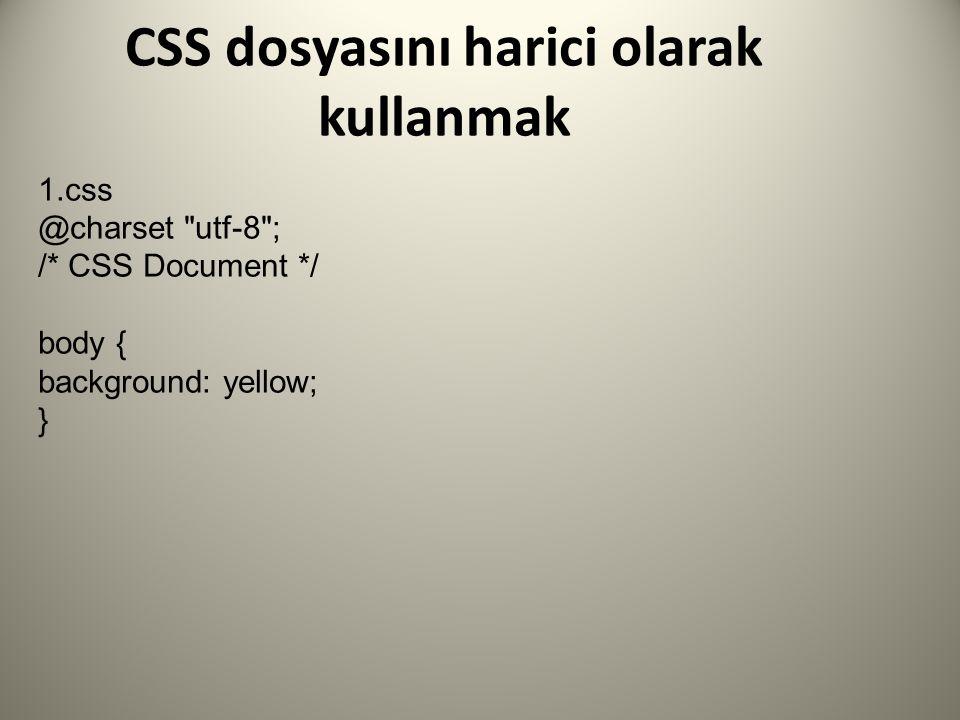 CSS dosyasını harici olarak kullanmak 1.css @charset