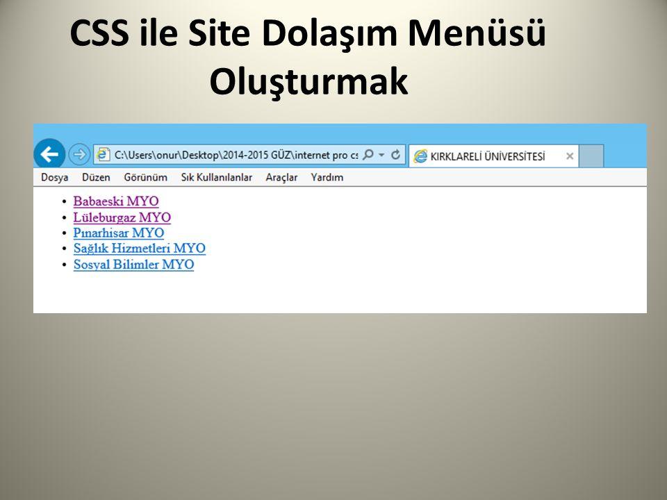 CSS ile Site Dolaşım Menüsü Oluşturmak