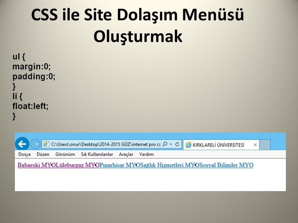 CSS ile Site Dolaşım Menüsü Oluşturmak ul { margin:0; padding:0; } li { float:left; }