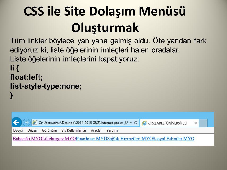 CSS ile Site Dolaşım Menüsü Oluşturmak Tüm linkler böylece yan yana gelmiş oldu. Öte yandan fark ediyoruz ki, liste öğelerinin imleçleri halen oradala