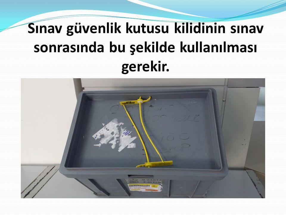 Sınav güvenlik kutusu kilidinin sınav sonrasında bu şekilde kullanılması gerekir.