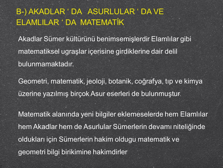 C-) BABİLLER ' DE MATEMATİK M.Ö.