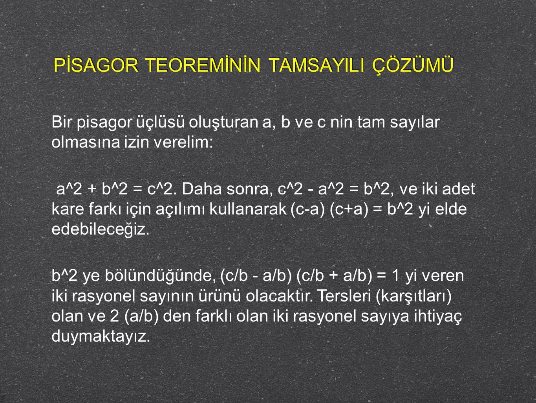 Bir pisagor üçlüsü oluşturan a, b ve c nin tam sayılar olmasına izin verelim: a^2 + b^2 = c^2. Daha sonra, c^2 - a^2 = b^2, ve iki adet kare farkı içi