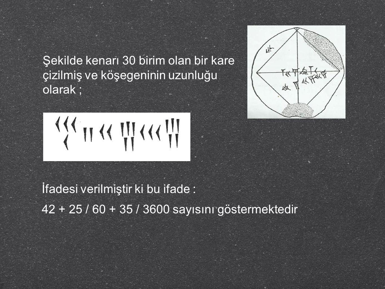 Şekilde kenarı 30 birim olan bir kare çizilmiş ve köşegeninin uzunluğu olarak ; İfadesi verilmiştir ki bu ifade : 42 + 25 / 60 + 35 / 3600 sayısını gö
