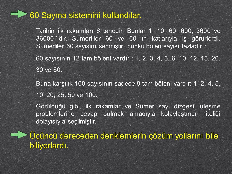 60 Sayma sistemini kullandılar. Tarihin ilk rakamları 6 tanedir. Bunlar 1, 10, 60, 600, 3600 ve 36000'dir. Sumerliler 60 ve 60'ın katlarıyla iş görürl