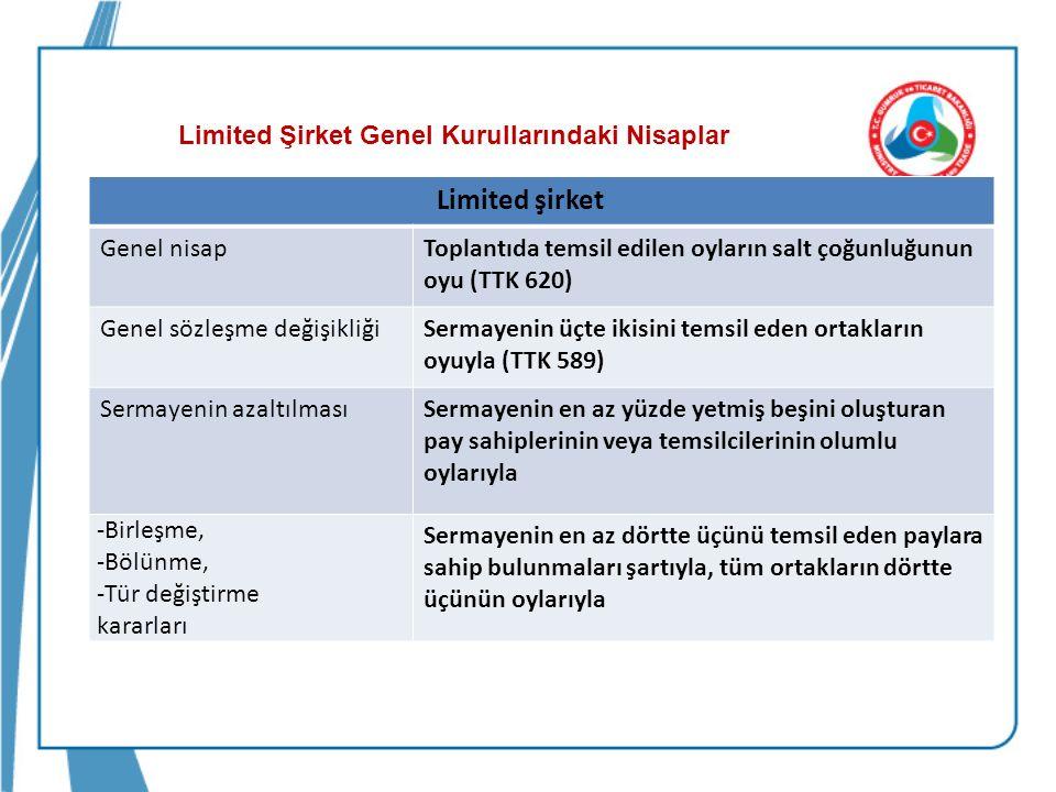Limited Şirket Genel Kurullarındaki Nisaplar -İşletme konusunun değiştirilmesi, -Oyda imtiyazlı esas sermaye paylarının öngörülmesi.