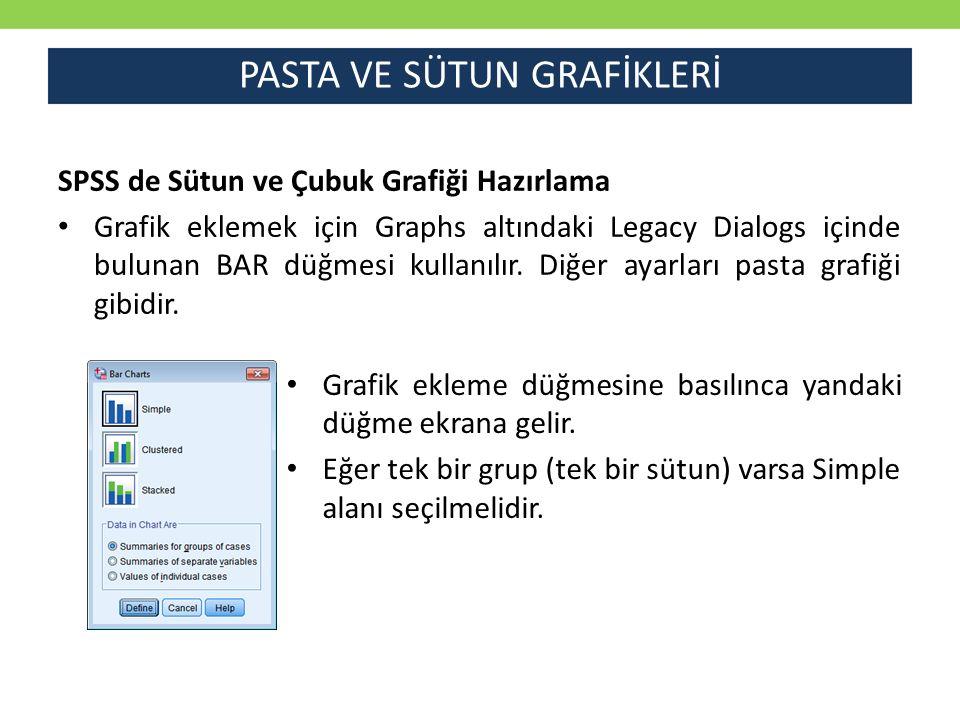 PASTA VE SÜTUN GRAFİKLERİ SPSS de Sütun ve Çubuk Grafiği Hazırlama Grafik eklemek için Graphs altındaki Legacy Dialogs içinde bulunan BAR düğmesi kull