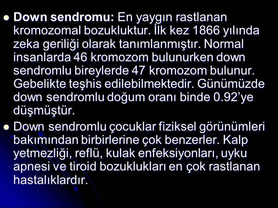 Down sendromu: En yaygın rastlanan kromozomal bozukluktur. İlk kez 1866 yılında zeka geriliği olarak tanımlanmıştır. Normal insanlarda 46 kromozom bul