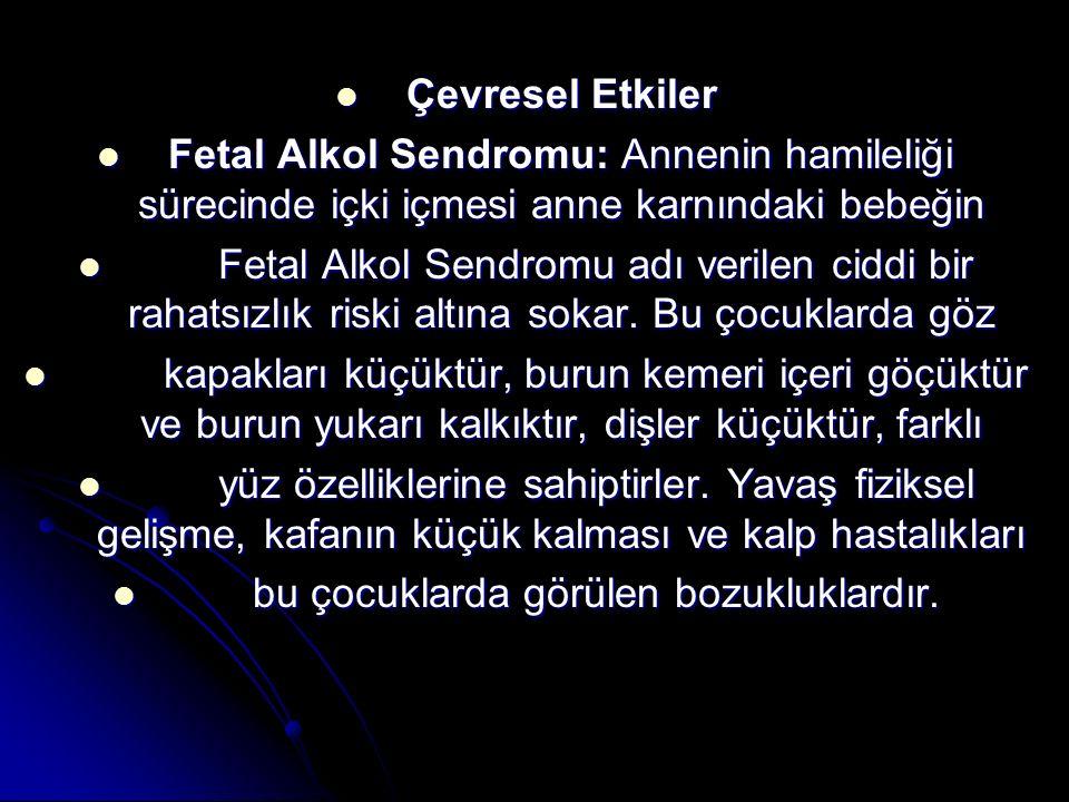 Çevresel Etkiler Çevresel Etkiler Fetal Alkol Sendromu: Annenin hamileliği sürecinde içki içmesi anne karnındaki bebeğin Fetal Alkol Sendromu: Annenin
