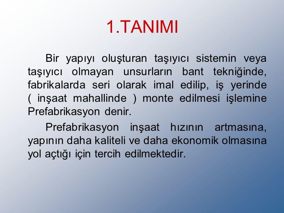 1.TANIMI Bir yapıyı oluşturan taşıyıcı sistemin veya taşıyıcı olmayan unsurların bant tekniğinde, fabrikalarda seri olarak imal edilip, iş yerinde ( inşaat mahallinde ) monte edilmesi işlemine Prefabrikasyon denir.
