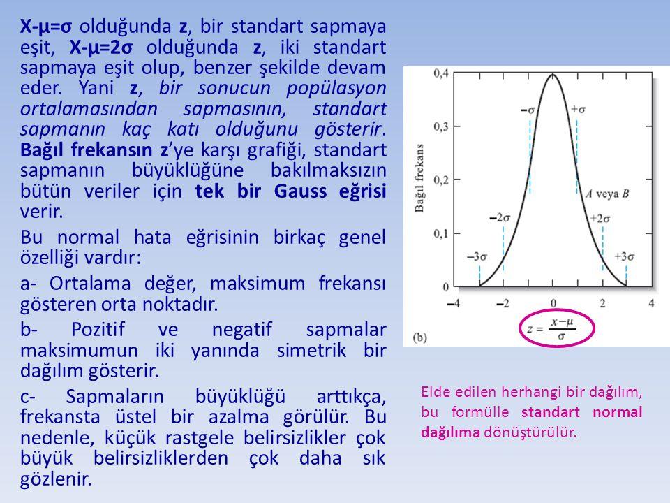 X-µ=σ olduğunda z, bir standart sapmaya eşit, X-µ=2σ olduğunda z, iki standart sapmaya eşit olup, benzer şekilde devam eder. Yani z, bir sonucun popül