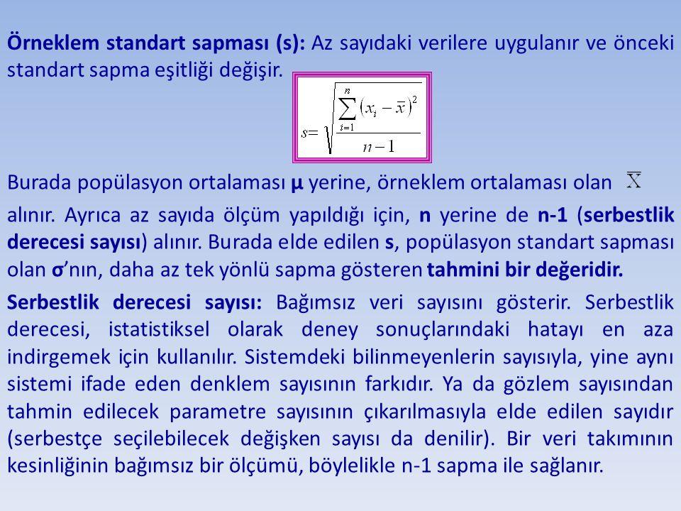 Örneklem standart sapması (s): Az sayıdaki verilere uygulanır ve önceki standart sapma eşitliği değişir. Burada popülasyon ortalaması µ yerine, örnekl