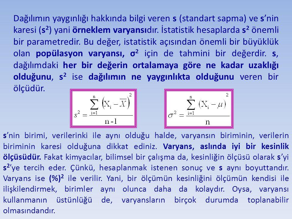 Dağılımın yaygınlığı hakkında bilgi veren s (standart sapma) ve s'nin karesi (s 2 ) yani örneklem varyansıdır. İstatistik hesaplarda s 2 önemli bir pa