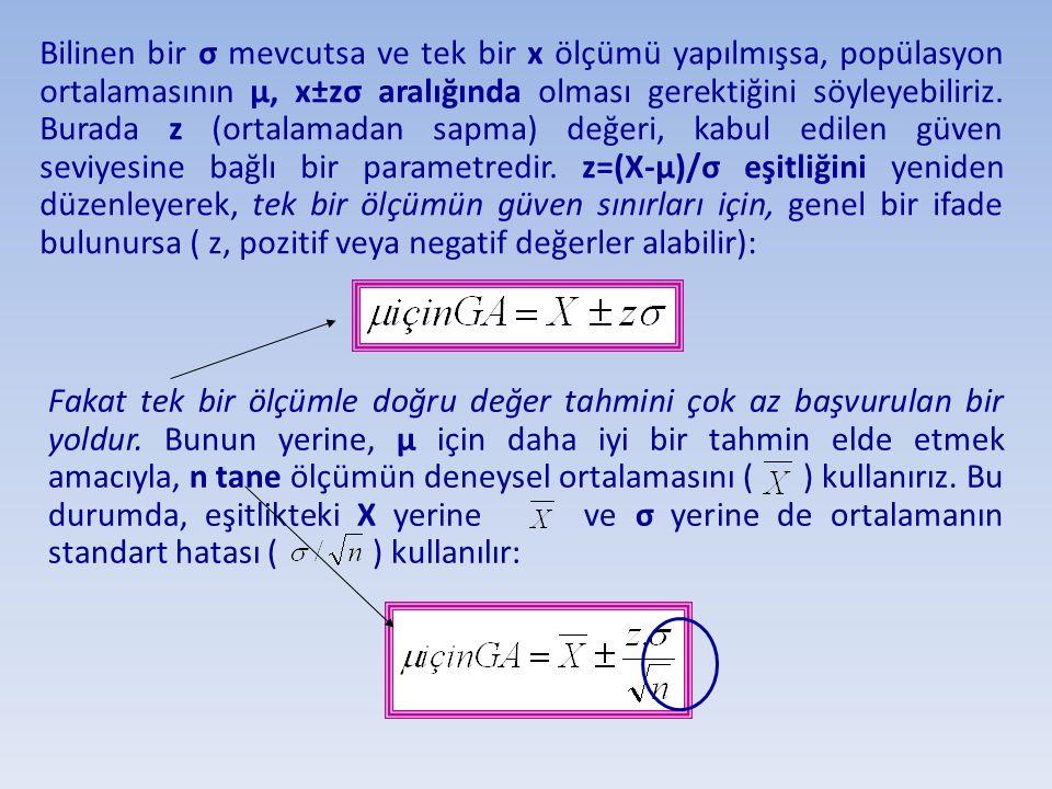 Bilinen bir σ mevcutsa ve tek bir x ölçümü yapılmışsa, popülasyon ortalamasının µ, x±zσ aralığında olması gerektiğini söyleyebiliriz. Burada z (ortala