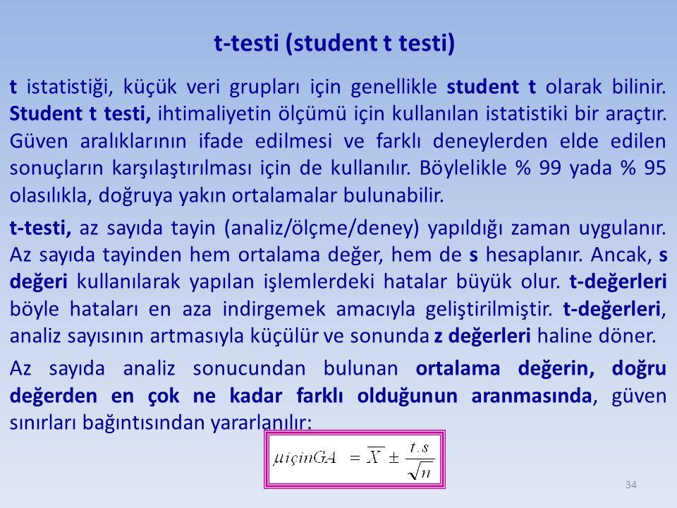 t-testi (student t testi) t istatistiği, küçük veri grupları için genellikle student t olarak bilinir. Student t testi, ihtimaliyetin ölçümü için kull