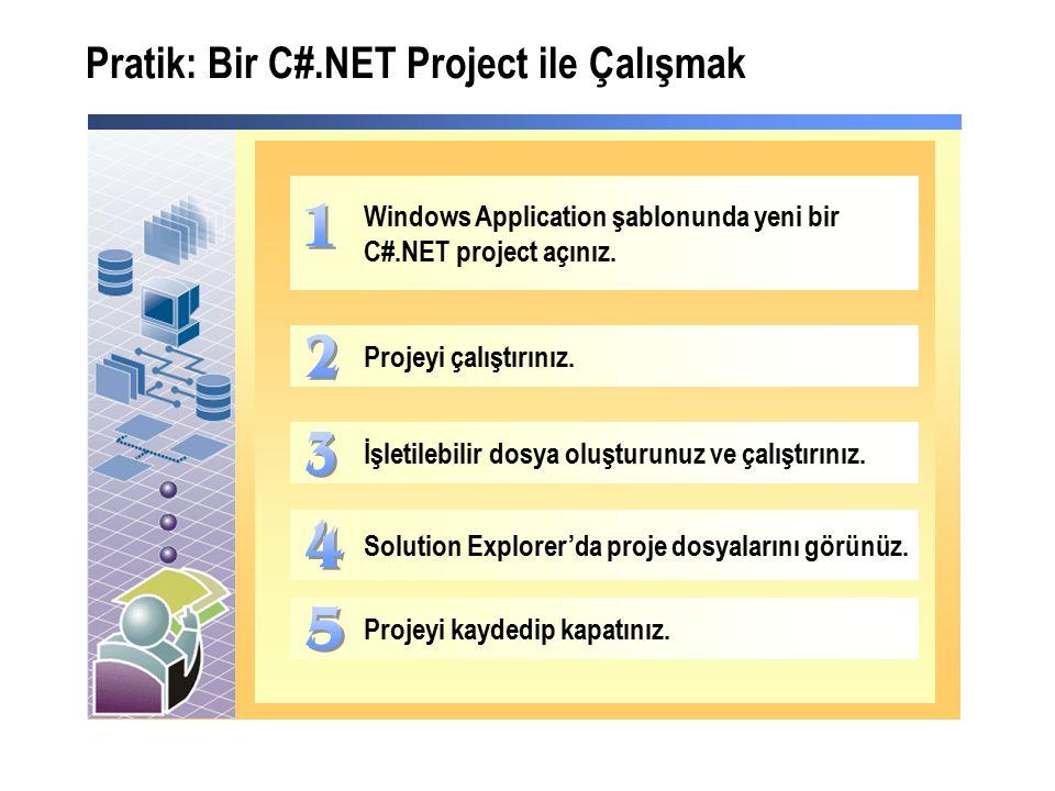 Pratik: Bir C#.NET Project ile Çalışmak Windows Application şablonunda yeni bir C#.NET project açınız.