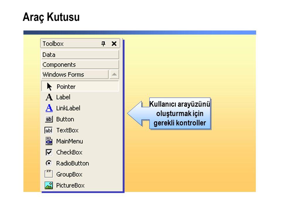 Araç Kutusu Kullanıcı arayüzünü oluşturmak için gerekli kontroller Kullanıcı arayüzünü oluşturmak için gerekli kontroller