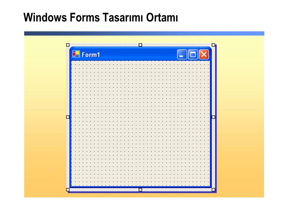 Windows Forms Tasarımı Ortamı