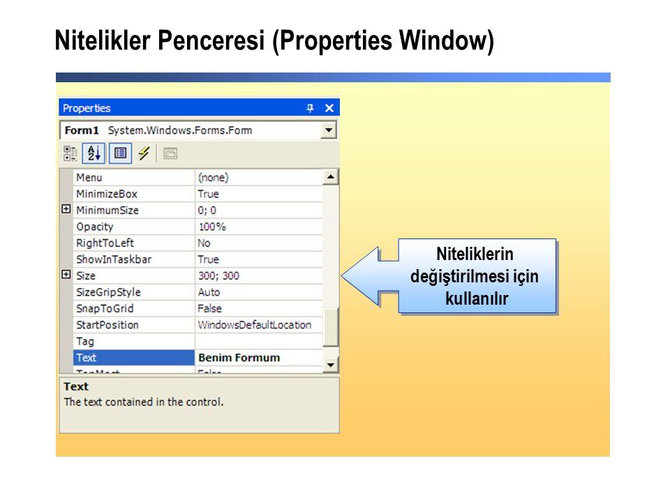 Nitelikler Penceresi (Properties Window) Niteliklerin değiştirilmesi için kullanılır