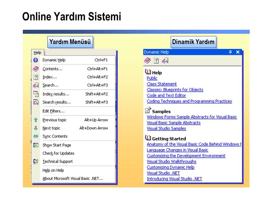Online Yardım Sistemi Yardım Menüsü Dinamik Yardım