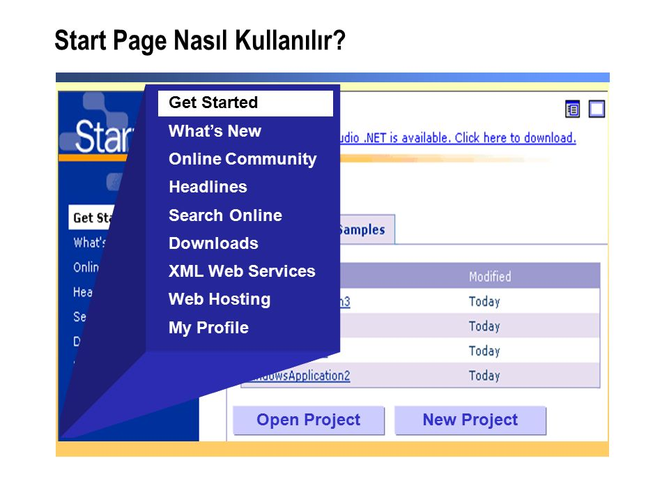 Ders: Bir C#.NET Project Oluşturmak Kullanıcı arayüzünün oluşturulma sı Kodun yazılması Test ve hata yakalama Derleme ve kurulum Tasarımın yapılması