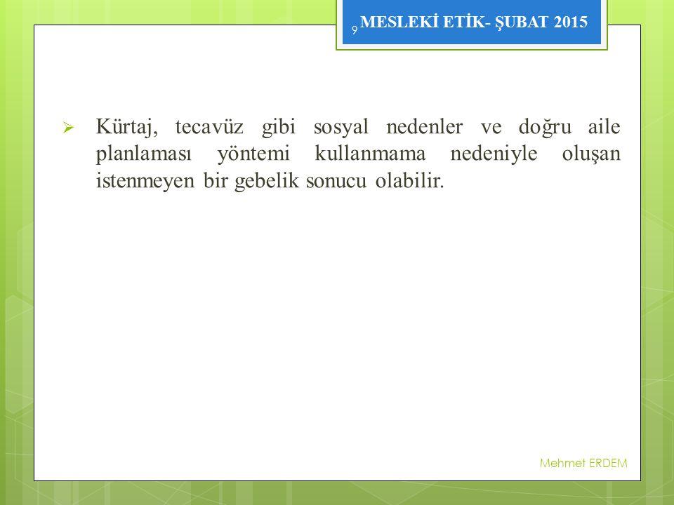 MESLEKİ ETİK- ŞUBAT 2015  Türk Ceza Yasası'na göre ötenazi suçtur.
