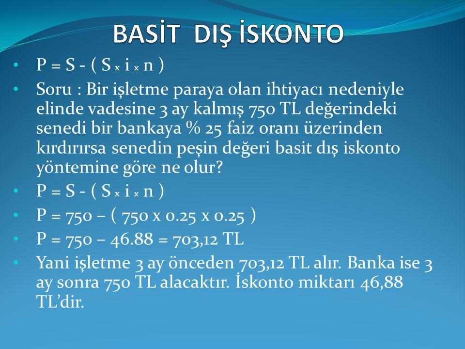 P = S - ( S x i x n ) Soru : Bir işletme paraya olan ihtiyacı nedeniyle elinde vadesine 3 ay kalmış 750 TL değerindeki senedi bir bankaya % 25 faiz or