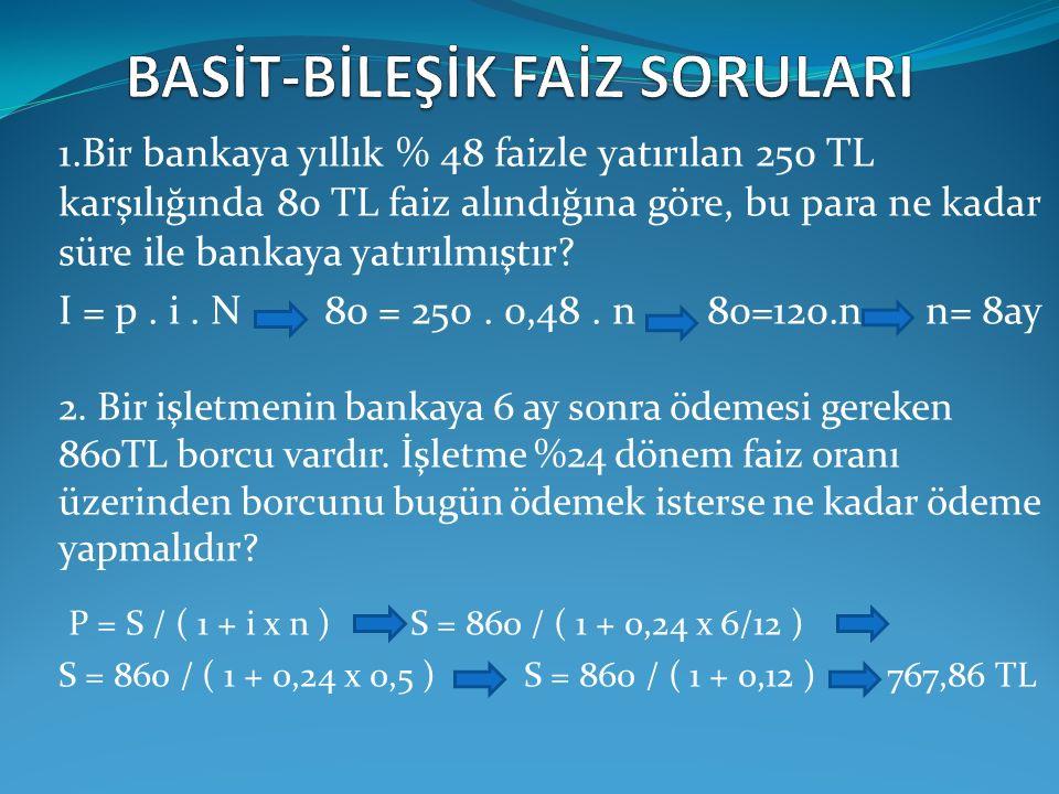 1.Bir bankaya yıllık % 48 faizle yatırılan 250 TL karşılığında 80 TL faiz alındığına göre, bu para ne kadar süre ile bankaya yatırılmıştır? I = p. i.