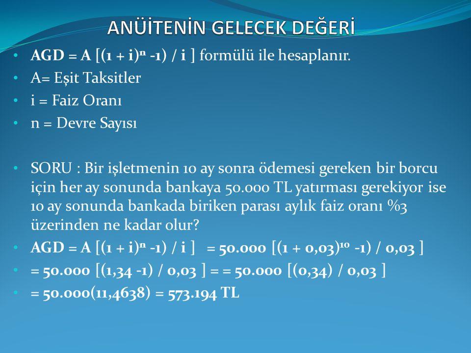 AGD = A [(1 + i) n -1) / i ] formülü ile hesaplanır. A= Eşit Taksitler i = Faiz Oranı n = Devre Sayısı SORU : Bir işletmenin 10 ay sonra ödemesi gerek
