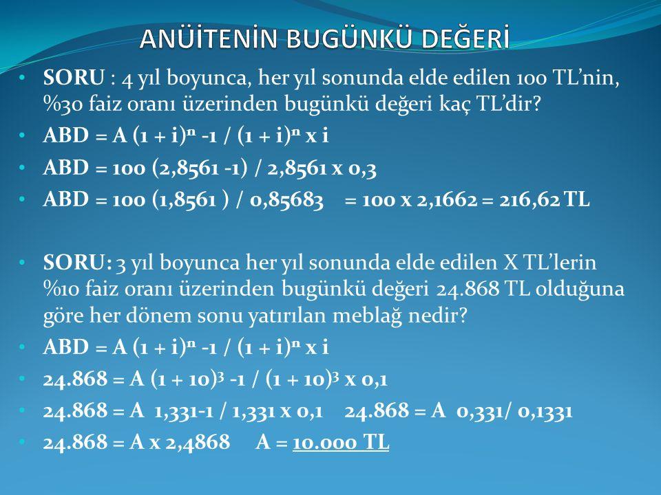 SORU : 4 yıl boyunca, her yıl sonunda elde edilen 100 TL'nin, %30 faiz oranı üzerinden bugünkü değeri kaç TL'dir? ABD = A (1 + i) n -1 / (1 + i) n x i