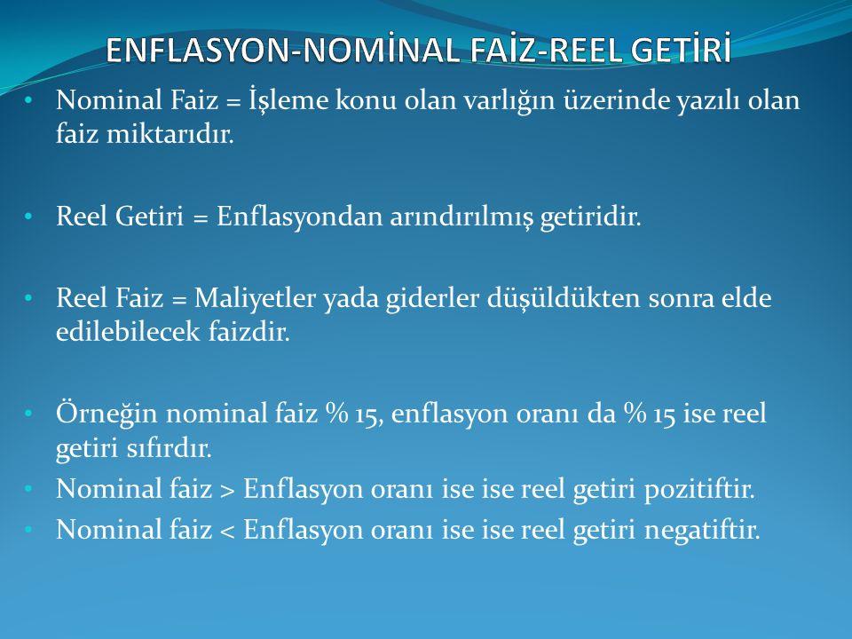 Nominal Faiz = İşleme konu olan varlığın üzerinde yazılı olan faiz miktarıdır. Reel Getiri = Enflasyondan arındırılmış getiridir. Reel Faiz = Maliyetl