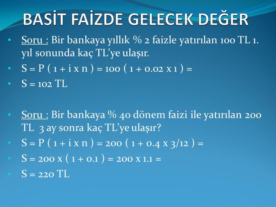 Soru : Bir bankaya yıllık % 2 faizle yatırılan 100 TL 1. yıl sonunda kaç TL'ye ulaşır. S = P ( 1 + i x n ) = 100 ( 1 + 0.02 x 1 ) = S = 102 TL Soru :