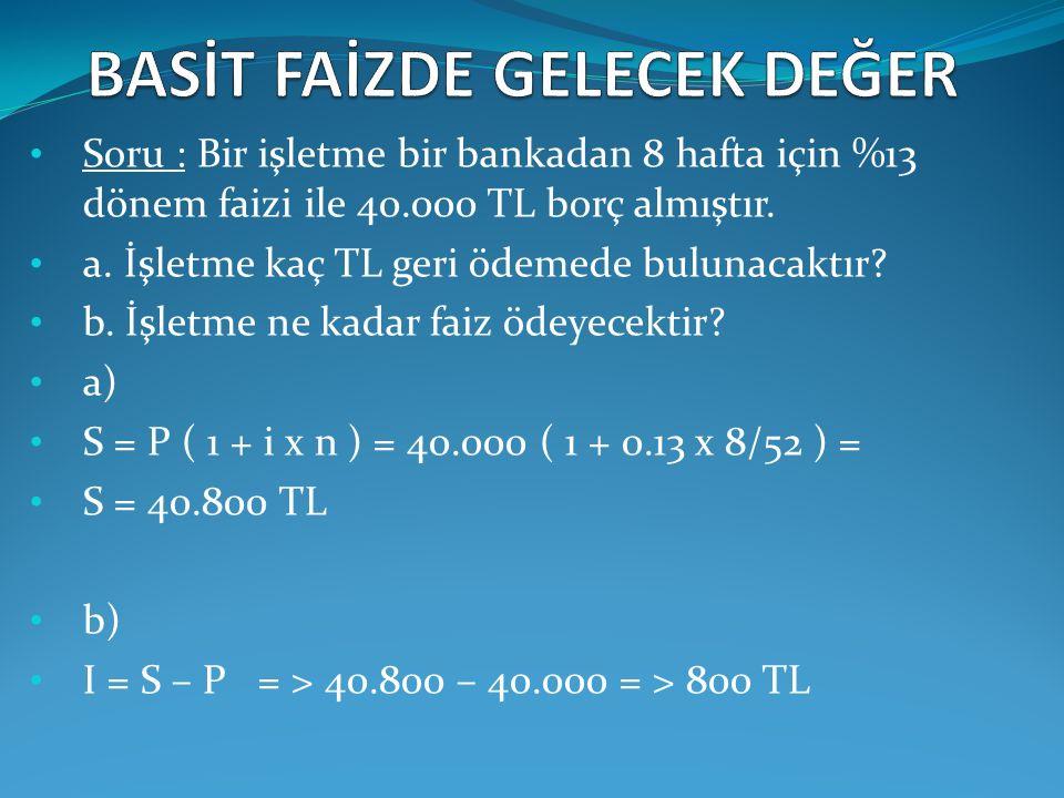 (1) 50.000.000 * 0.025 = 1.250.000 ilk taksitteki faiz tutarı (2) 9.077.499 - 1.250.000 = 7.827.499 ilk taksitteki anapara tutarı (3) 50.000.000 - 7.827.499 = 42.172.501 ilk taksit ödendiğinde kalan borç (4) 42.172.501 * 0,025 = 1.054.313 ikinci taksitteki faiz tutarı (5) 9.077.499 - 1.054.313 = 8.023.186 ikinci taksit ödendiğinde kalan borç