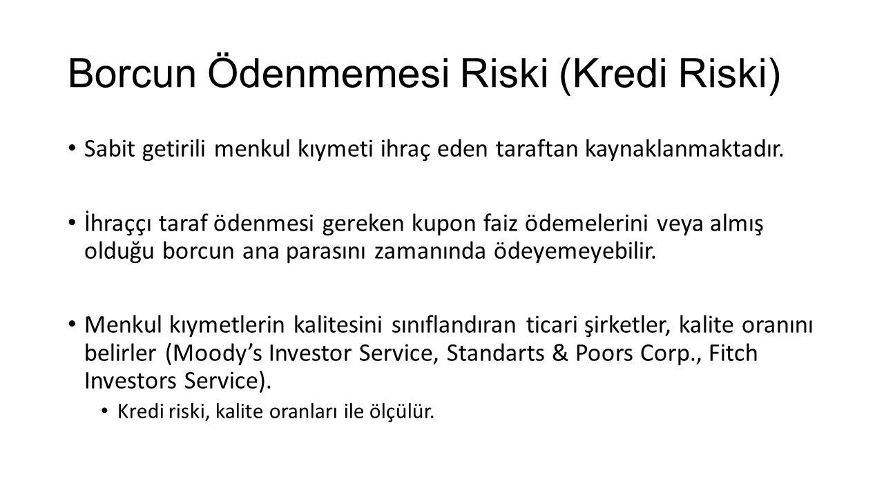 Getiri Eğrisi Riski (Vade Riski) Tahvillerin vadeleri ile faiz oranları arasında zamana, enflasyon beklentisine veya risk primine bağlı ilişkiler söz konusudur.