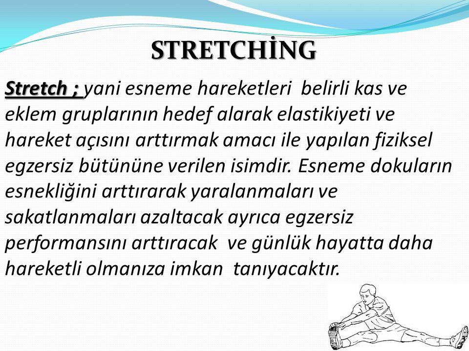 STRETCHİNG Stretch ; Stretch ; yani esneme hareketleri belirli kas ve eklem gruplarının hedef alarak elastikiyeti ve hareket açısını arttırmak amacı i